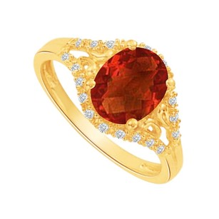 LoveBrightJewelry Garnet And Cz Split Shank Engagement Ring 1.50 Ct Tgw