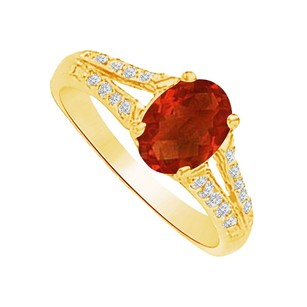 LoveBrightJewelry Garnet And Cz Split Shank Ring In 14k Yellow Gold