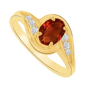 LoveBrightJewelry Garnet And Cz Swirl Engagement Ring In 14k Yellow Gold