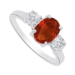 LoveBrightJewelry Garnet And Cz Three Stones Ring In 14k White Gold