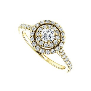LoveBrightJewelry Halo Cubic Zirconia Engagement Ring With Double Halo In 14k Yellow