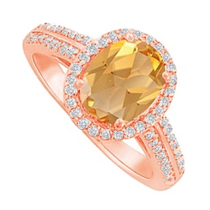 LoveBrightJewelry Halo Ring With Citrine And Cz In Rose Gold Vermeil