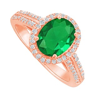 LoveBrightJewelry Halo Ring With Emerald And Cz In 14k Rose Gold Vermeil