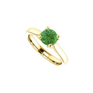 LoveBrightJewelry May Birthstone Created Emerald Engagement Ring In 14kt Yellow