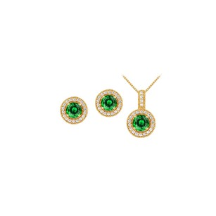 LoveBrightJewelry May Birthstone Emerald With Cz Halo Earrings And Pendant