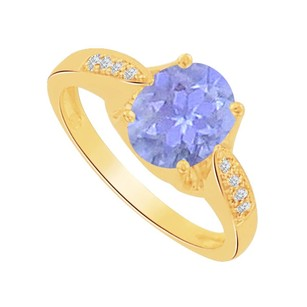 LoveBrightJewelry Oval Tanzanite And Cz Solitaire Ring In 14k Yellow Gold
