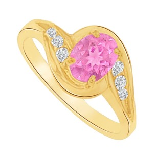 LoveBrightJewelry Pink Sapphire And Cubic Zirconia Swirl Engagement Ring