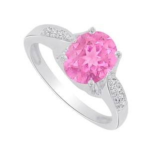 LoveBrightJewelry Pink Sapphire And Cz Designer Ring In 14k White Gold