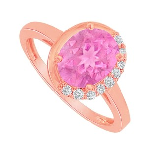 LoveBrightJewelry Pink Sapphire And Cz Engagement Ring In 14k Rose Gold