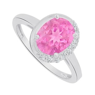 LoveBrightJewelry Pink Sapphire And Cz Engagement Ring14k White Gold