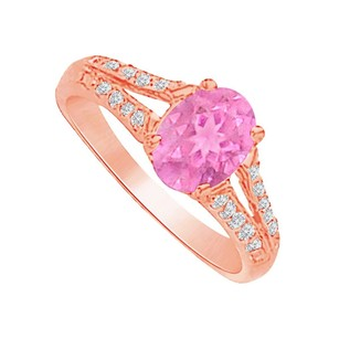 LoveBrightJewelry Pink Sapphire And Cz Split Shank Ring In 14k Rose Gold