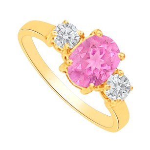LoveBrightJewelry Pink Sapphire Cz Three Stones Ring In 14k Yellow Gold