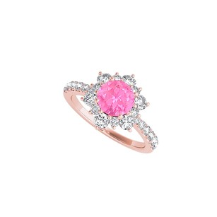 LoveBrightJewelry Rose Gold Flower Design Ring With Pink Sapphire Cz