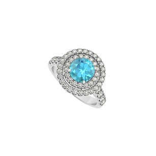 LoveBrightJewelry Round Blue Topaz And Double Circle Cubic Zirconia In 925 Sterling
