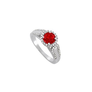 LoveBrightJewelry Ruby And Cz Halo Engagement Ring In 925 Sterling Silver
