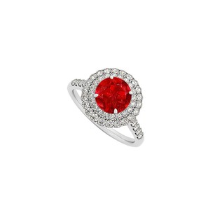 LoveBrightJewelry Ruby And Cz Halo Engagement Ring In Sterling Silver