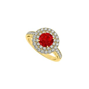 LoveBrightJewelry Ruby And Double Circle Cubic Zirconia 18k Yellow Gold Vermeil