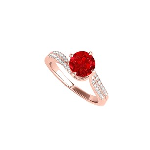 LoveBrightJewelry Ruby Engagement Ring With Cz Rows In 14k Rose Gold
