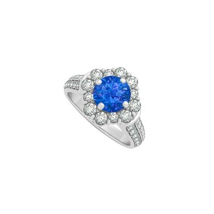 LoveBrightJewelry Sapphire And Cz Engagement Ring In 925 Sterling Silver