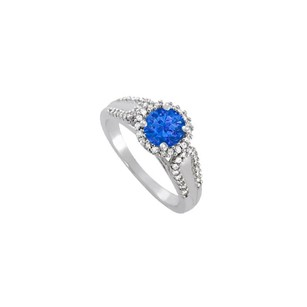 LoveBrightJewelry Sapphire And Cz Halo Engagement Ring In 925 Sterling Silver