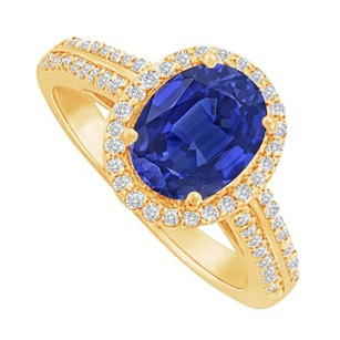 LoveBrightJewelry Sapphire And Cz Halo Ring In 18k Yellow Gold Vermeil