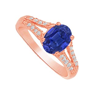 LoveBrightJewelry Sapphire And Cz Split Shank Ring In 14k Rose Gold