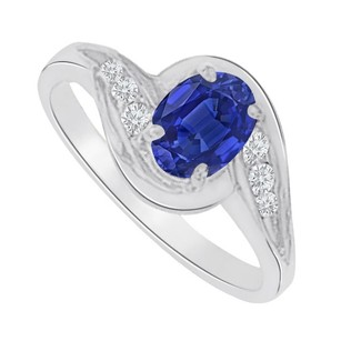 LoveBrightJewelry Sapphire And Cz Swirl Engagement Ring In 14k White Gold