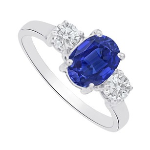LoveBrightJewelry Sapphire And Cz Three Stones Ring In 14k White Gold
