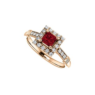 LoveBrightJewelry .75 Ct Tw Cz Accented Square Ruby Halo Ring Rose Gold