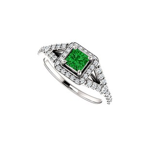 LoveBrightJewelry .75 Ct Tw Square Emerald And Cz Split Shank Halo Ring