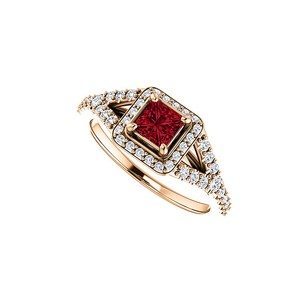 LoveBrightJewelry .75 Ct Tw Square Ruby And Cz Split Shank Halo Ring