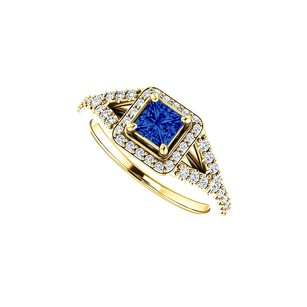 LoveBrightJewelry Cz And Faceted Cut Sapphire Split Shank Halo Ring Gold