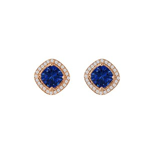 LoveBrightJewelry Rhombus Sapphire Cz Square Halo Earrings 14k Rose Gold
