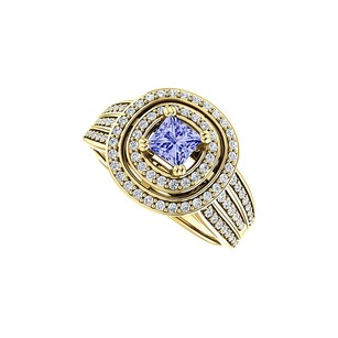LoveBrightJewelry Double Halo Tanzanite And Cz Three Rows Ring Vermeil
