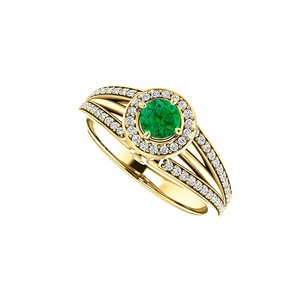 LoveBrightJewelry Cz Emerald Triple Row Split Shank Halo Ring 18k Vermeil