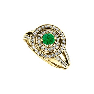 LoveBrightJewelry Double Halo Split Shank Emerald Cz Ring Gold Vermeil