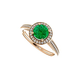 LoveBrightJewelry Cubic Zirconia Accented Emerald Halo Ring In Vermeil