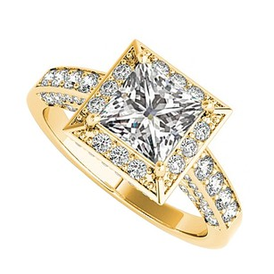 LoveBrightJewelry Cz Square Halo Engagement Ring 18k Yellow Gold Vermeil