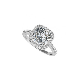 LoveBrightJewelry 2.50 Ct Tw Square Cz Halo Engagement Ring 925 Silver