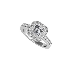 LoveBrightJewelry Square Cubic Zirconia Bezel Set Halo Engagement Ring