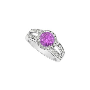 LoveBrightJewelry Split Shank Halo Engagement Ring Round Amethyst With Cubic Zirconia