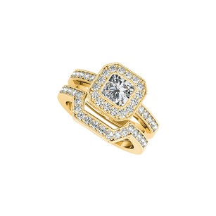 LoveBrightJewelry Cz Halo Engagement Ring Wedding Band Set Yellow Gold