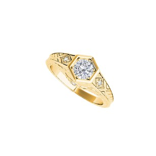 LoveBrightJewelry Bold Round Diamond Hexagonal Engagement Ring 14k Gold