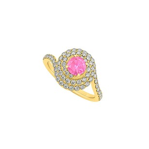 LoveBrightJewelry Pink Sapphire Diamonds Swirl Halo Ring 14k Yellow Gold