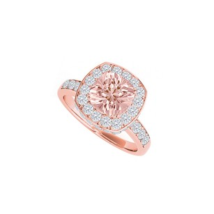 LoveBrightJewelry Square Morganite Haloed By Cubic Zirconia Bridal Ring