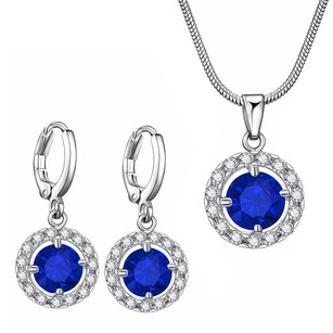 LoveBrightJewelry Cz Blue Gemstone Halo Pendant Earrings Set In White