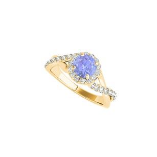 LoveBrightJewelry Tanzanite Cz Yellow Gold Vermeil Criss Cross Ring