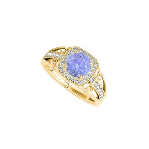 LoveBrightJewelry Yellow Gold Vermeil Filigree Ring With Tanzanite And Cz