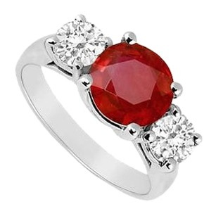 LoveBrightJewelry 3 CT Prong Set Ruby and CZ Three Stone 925 Silver Ring
