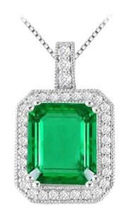 LoveBrightJewelry 6 Carat Rectangular Frosted Emerald with Cubic Zirconia Pendant